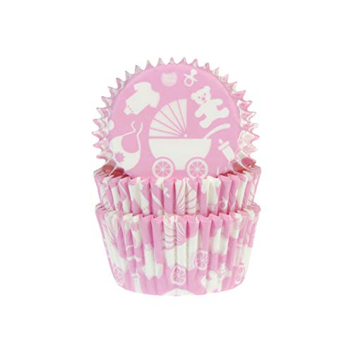 House of Marie Lot de 50 caissettes à muffins bébé rose
