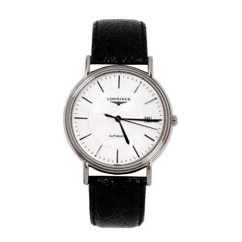 Longines Herren-Armbanduhr XL Presence Analog Automatik Leder L4.921.4.18.2