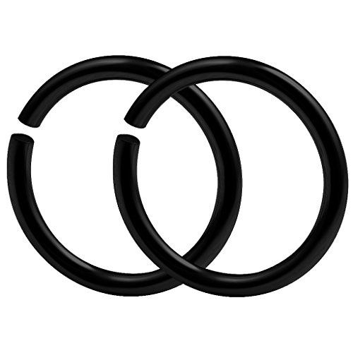 bodyjewellery 2pcs 18g 1mm Nose Hoop Rings Seamless Nostril Septum Cartilage Piercing Gauge Black Anodized Surgical Steel - 8mm