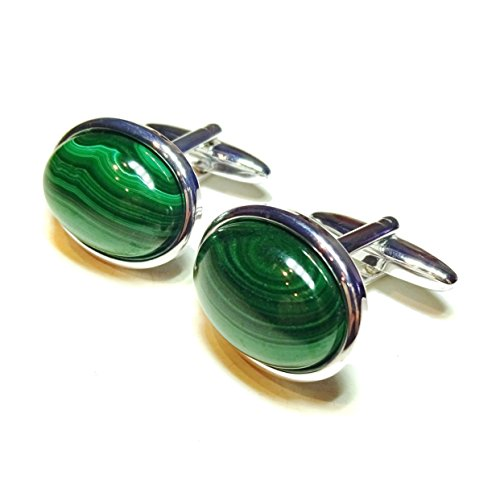 The Black Cat Jewellery Store Boutons De Manchette Vert en Malachite Semi-précieuses