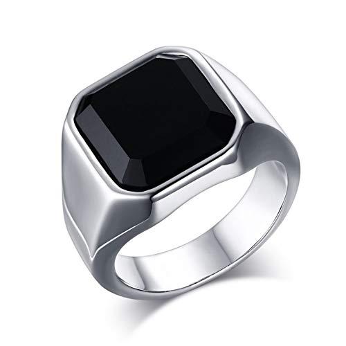 ERDING Fashion Cadeau/Stijlvolle Heren Signet Pinky Ring Goud en Zilver Tones RVS Zwarte Steen Ring mannelijke Accessoire