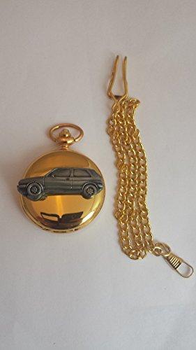 VW Golf GTI MK2ref300Zinn Effekt Emblem auf eine poliert Gold Fall Herren Geschenk Quarz Taschenuhr hergestellt in Sheffield