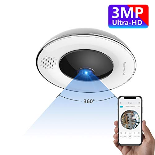 360° Panoramic Wireless WiFi IP Camera, NexTrend Ultra HD Home Security Camera with Fisheye Lens,...