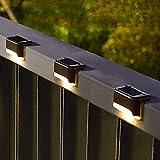 Paquete de 16 luces solares para terraza, luces solares para escalones, lámpara de valla solar LED impermeable para exteriores para escalones, valla, terraza, barandilla y escaleras (blanco cálido)