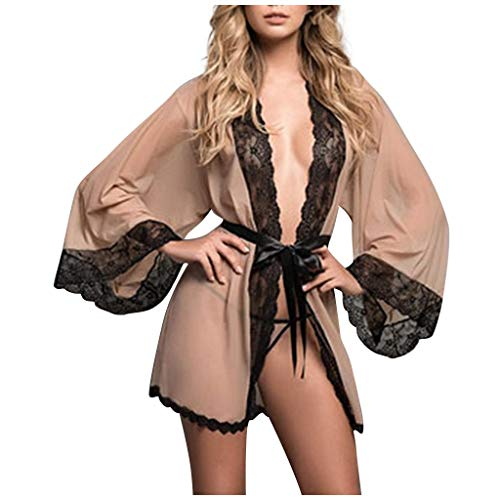 TANGTANGYI Nachtwäsche Damen Sexy Dessous Set Kimono Kurz Spitze Kleid Gown Weiter Ärmel Transparente Robe Kurz Mesh Bikini Cover up Spitze Negligee mit Gürtel und G-String (Khaki S