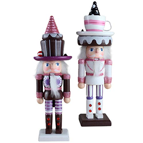 NUOBESTY 2pcs Nutcracker Puppet Wooden Christmas Nutcracker Figures American Flag Christmas Wooden Decorations Ornaments Puppet Toy Gifts