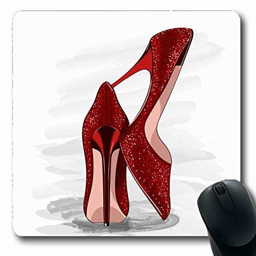 Mouse Pad Rote Frau Konzept Trendy Accessoire Mädchen Pailletten Fersen Design Fuß Schuhe Schönheit Mode Ziemlich Groß Oblong Gedruckt Laptop Mausmatte Mousepad 25X30Cm Arbeit Com