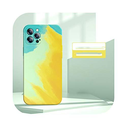 Caja cuadrada de silicona líquida suave para iPhone 12 11 Pro Max Mini iPhone SE 2020 X XS XR 7 8 Plus cubierta-amarillo-para iphone xr