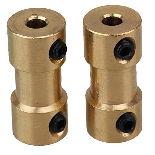 Ningc Conector Adaptador de Eje rígido de latón Dorado, Conector de transmisión de Motor de acoplador con Llave de Tornillos, 6 mm-6 mm