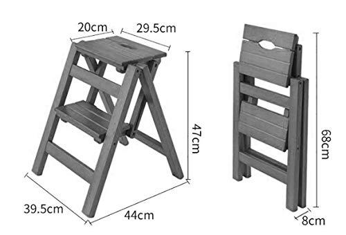 GOG Taburete, escalera plegable Taburete 2 peldaños Taburete de madera maciza Estante de flores Soporte Hogar Escalera de madera Silla Escalera interior Asiento Taburete Taburete,A