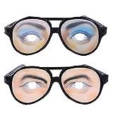 面白メガネ 2個セット 面白サングラス Luasify 澄んだ瞳 とりりしい眉毛 変装メガネ クレイジーアイズ パーティー イベントグッツ 変装 仮装 コスプレメガネ おもしろ サングラス