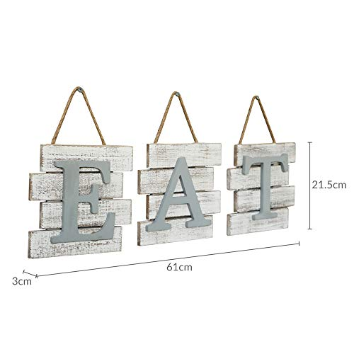 Barnyard Designs Eat Sign Wall Decor, Rustic Farmhouse Decoration for Kitchen and Home, Decorative Hanging Wooden Letters, Country Wall Art, Distressed White and Gray, 24