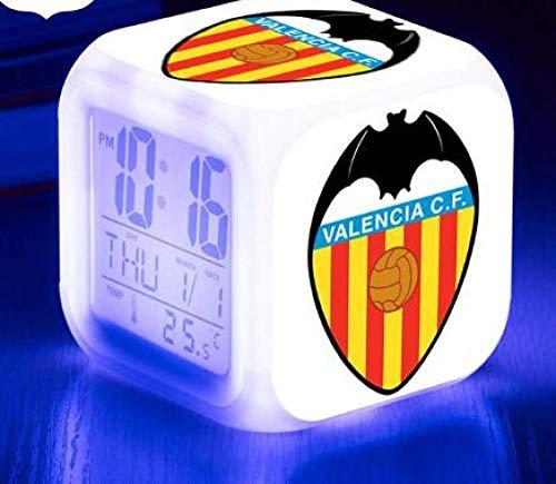Spetich Reloj despertador Reloj digital LED 7 colores cambiantes Luz Noche brillante Reloj de escritorio para Regalo para niños Valencia, España-Regalo de Navidad de cumpleaños