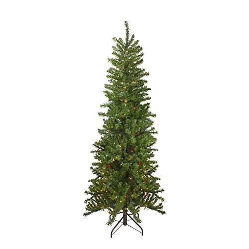 7.5' Pre-Lit Pencil Canadian Pine Artificial Christmas Tree - Multicolor Lights