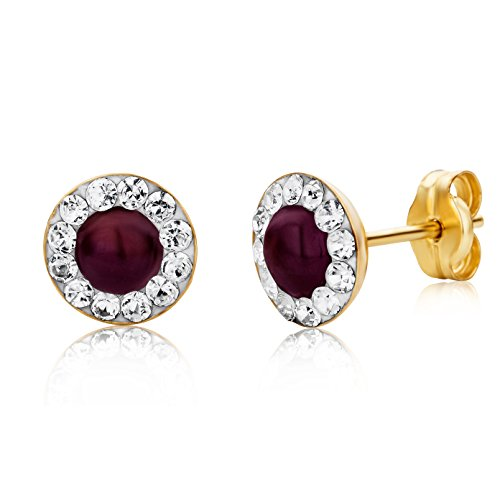 Miore Earrings Women studs Ruby with Swarovski Elements Yellow Gold 9 Kt / 375
