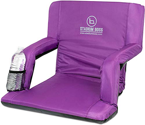 Stadium Boss Recliner Stadium Seat for Bleachers, Benches, Lawns, Backyard, Camping & Beach – Padded Sport Chair, Cushion Backs & Armrest – 6 Reclining Positions – Portable Carry Straps – Purple