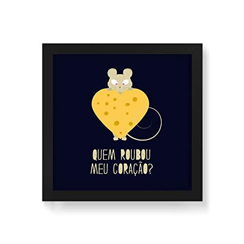 Arte Maníacos Quadro Decorativo Quem roubou meu queijo - 50x50cm (Moldura em laca preta)
