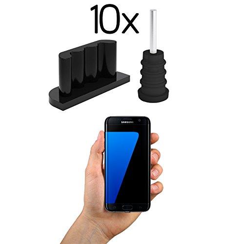 innoGadgets 10x Staubschutz Stöpsel kompatibel mit Smartphone | Staubstecker, Schutz für Android Micro-USB Anschluss - Samsung Galaxy S7 | Silikon Staubstöpsel | Schwarz