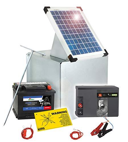 Eider Solar Elektrozaun: 12 Volt Weidezaungerät mit 10 Watt Solar, Akku & Metall Transportbox - Akku Wird mit Säure befüllt geliefert - Hütesichere Stromversorgung mit 12 V Gerät & Zubehör