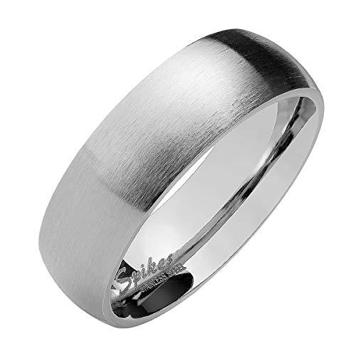 Piersando Band Ring Edelstahl Matt Gebürstet Bandring Ehering Partnerring Trauring Verlobungsring Damen Herren Silber Größe 68 (21.6) Breit 8mm