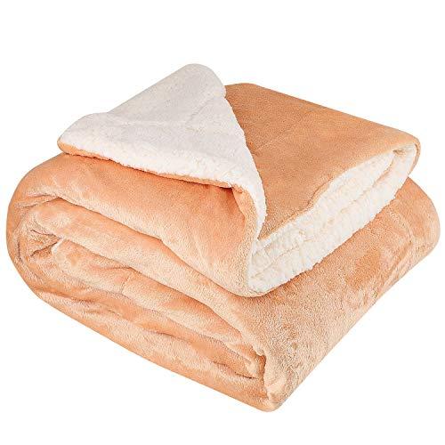 NEUFLY Manta polar de franela de doble cara, 150 x 200 cm, extra gruesa, manta de sofá de sofá, muy mullida, cálida, color caqui