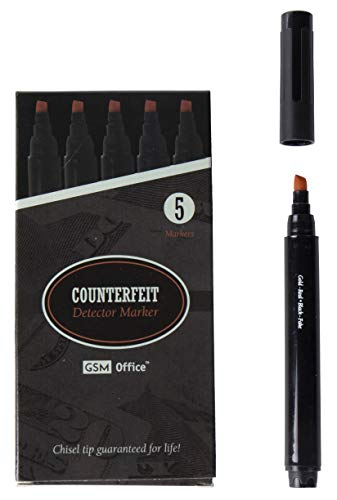Counterfeit Money Bill Detector Pens, Markers - Detects Fake Currency - 5 Pack