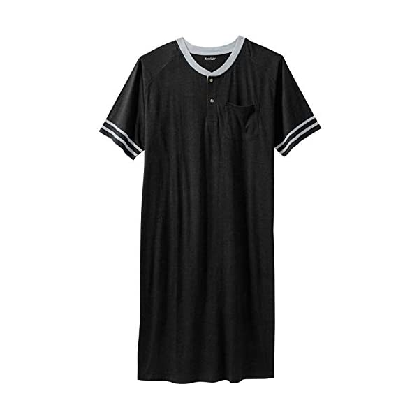 KingSize Men's Big & Tall Short-Sleeve Henley Nightshirt
