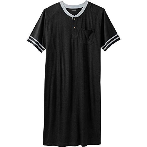 KingSize Men's Big & Tall Short-Sleeve Henley Nightshirt - Big - 7XL/8X, Black Pajamas