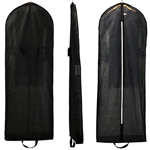 HIMRY [3er St. Atmungsaktiver Faltbare Kleidersack Schutzhülle, ca. 149 cm, Zwei Taschen für Zubehörteile, für Kleider Abendkleider Anzüge Mäntel, Reissverschluss, 3X Set Schwarz, KXB107 Black-3x