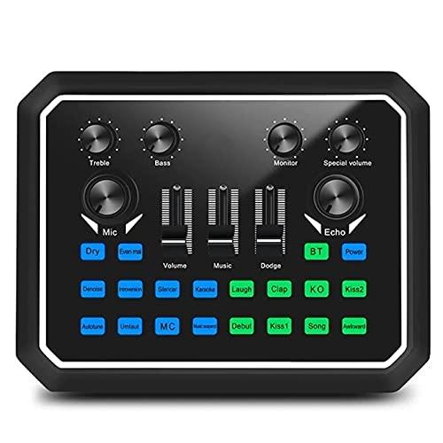 QuRRong Mesa de Mezclas Tarjeta De Sonido Tarjeta De Sonido Digital Mezclador De Micrófono Mezclador De Micrófono para Transmisión en Vivo (Color : Black, Size : One Size)