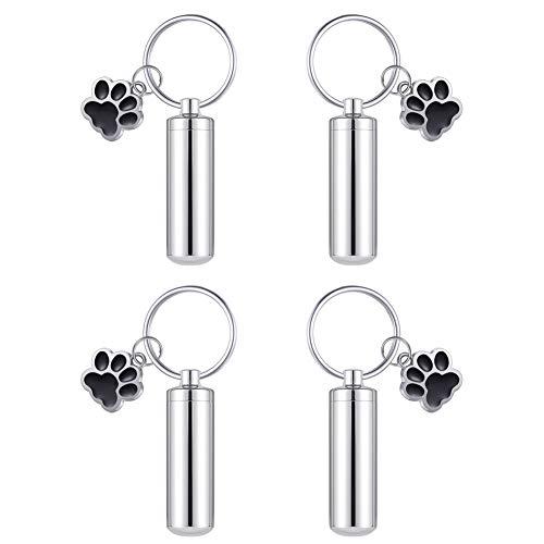 HooAMI 犬用アクセサリー メモリアルペンダント 4点セット シリンダー 肉球 デザイン キーホルダー チャーム 防水中空 お盆 プレゼント