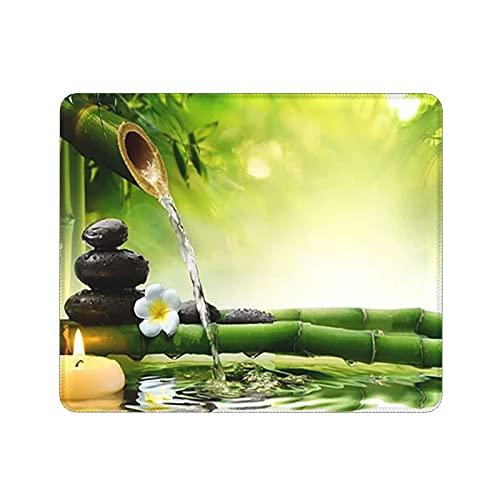 Zen Stone Green Bamboo Mousepad,Cute Desk Accessories,Office Decor,Desk Decor,Non-Slip Rubber Base with Stitched Edge Mouse Pads