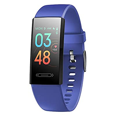 2021 Version Fitness Activity Tracker with Temperature Measurement Heart Rate Sleep Health Monitor Smart Watch Pedometer Calories Counter Smartwatch Gift for Women Men Teens Kids (Blue)