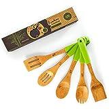 bambuswald© ecologico set 5 pezzi accessori da cucina con manico in silicone   sostenibile bambuswald© set di pentole in bambù set di utensili da cucina utensili da cucina cucchiaio da cucina