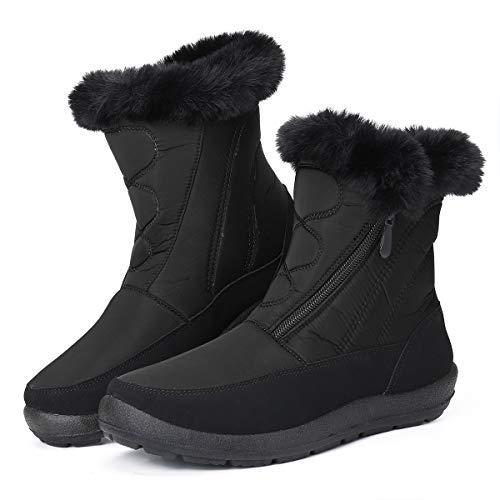 gracosy Botas Nieve Mujer Piel Forrado Tela Sintética Invierno Cálidas Botas Antideslizante Peso Ligero Plano Media Pierna Zapatos