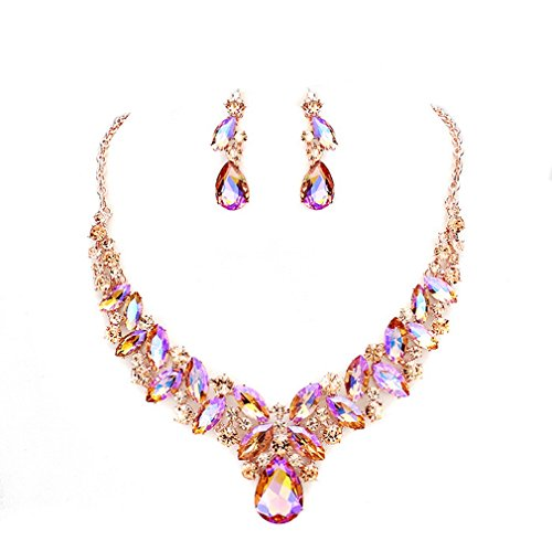 Blue Ice, Affordable Wedding Jewelry Women Elegant Ab Peach Crystal Statement Chunky Rose Gold Necklace Jewelry Earrings set