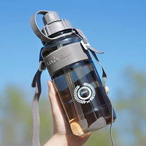 Anwangda Botella de agua portátil de viaje con pajita, botella deportiva con pajita, botella de agua portátil motivacional adecuada para deportes diarios, al aire libre (gris, tamaño: 2000 ml)