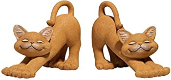 Whimsical Orange Cats Smiling Decorative Bookends Set - Happy Cat Collection - Cat Lover Gifts for Women Cat Lover Gifts for Men Decorative Bookends Home Office Decoration