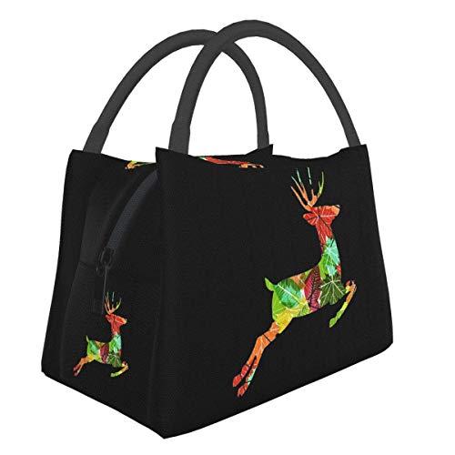 Bolsa de almuerzo aislada ciervos saltadores, organizador reutilizable de la lonchera de la bolsa de asas del refrigerador de la oficina de la escuela del trabajo para