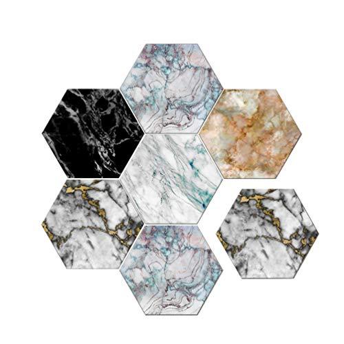 Baijiaye 5 stuks (1 set) zeshoekige verwijderbare muurstickers zelfklevende waterdichte kunststickers keuken badkamer woondecoratie wandtegel Marmer patroon 11.81 * 9.84 * 0.19inch