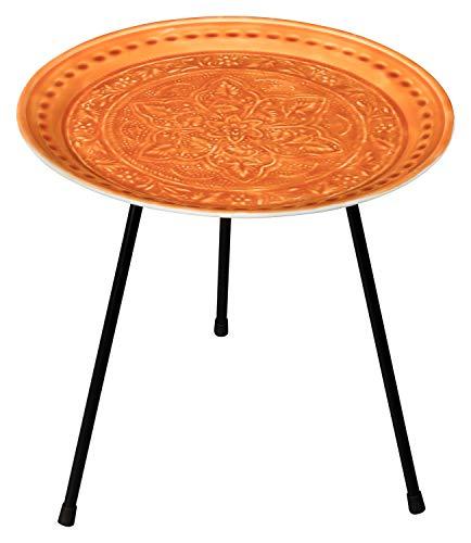 your castle Beistelltisch Kaffeetisch Teetisch aus Metall mit Emaillebeschichtung in orientalisch-indischem Stil Farbe: Terracotta, 42x42 cm