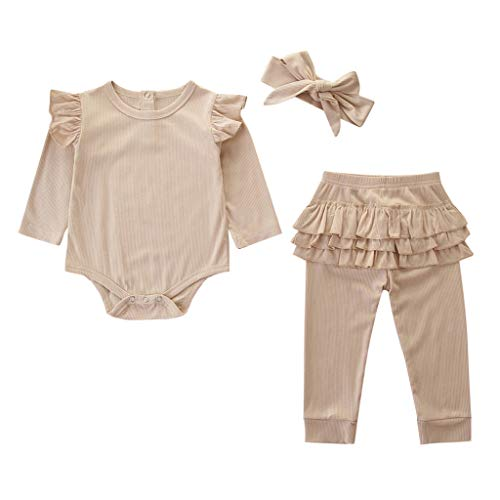 LEXUPE Neugeborene Kinder Baby Mädchen Outfits Kleidung Strampler Bodysuit + Streifen Lange Hosen Set(Khaki,80)