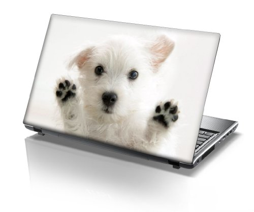TaylorHe 15.6 inch 15 inch Laptop Skin Vinyl Decal with Colorful Patterns and Leather Effect Laminate MADE IN England Cute Puppy Animal