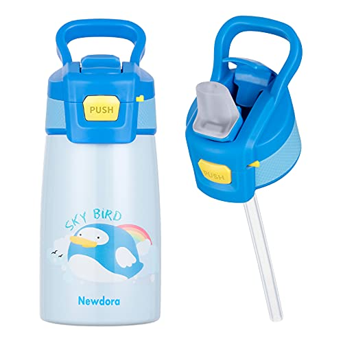 Newdora Botella de Agua para Niños, 350ml Botella Termica a Prueba de Fugas, Termo con Pajitas, Acero Inoxidable de Doble Pared al Vacio, Dibujo de PÁJALO
