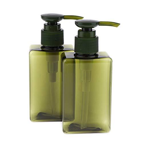 B Blesiya 2pcs 150 Ml Flacon de Voyage Plastique Bouteilles de Pompe Contenant pour Crème Shampooing Lotion Gel Douche - Vert