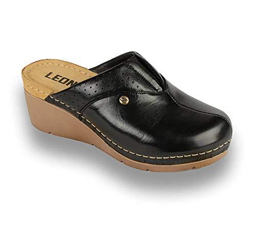 LEON 1002 Zuecos Zapatos Zapatillas de Cuero para Mujer, Negro, EU 36