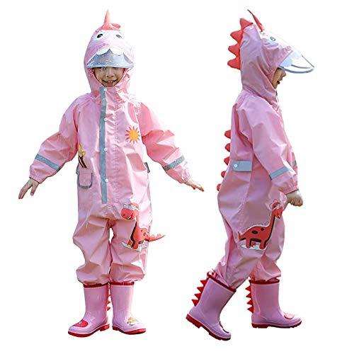 JinBei Regenmantel Mädchen Kapuze Regenjacken Rosa 3D Dinosaurier Muster Kinder Wasserdicht Atmungsaktiv Regenanzug Tasche Outdoor Wandern Overall Regenjacke Kind Regenbekleidung 5-7 Jahre