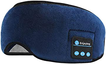 Sleep Headphones Headband-Wireless Bluetooth Sleeping Headphones Travel Music Eye Cover Headsets with Built-in Speakers Microphone for Side Sleepers Running Yoga Insomnia Travel (Blue)
