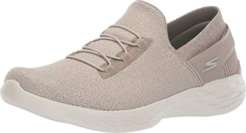 Skechers YOU-15818 Sneaker, Taupe, 10.5 M US