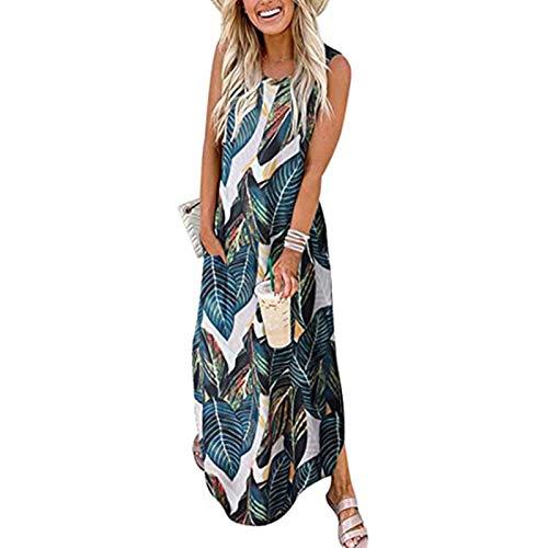 GCETTIC Dresses for Women Casual, Summer Women's Gradient Printed Maxi Dress Loose Sleeveless Plus Size T-Shirt Long Dress